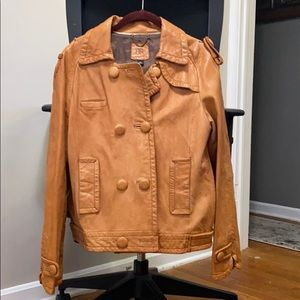 Cognac Leather Utilitarian Jacket